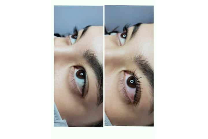 before and after results of eyelash lift